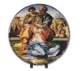 Holy Family by Michelangelo Round Slate Tile