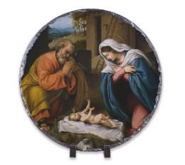 Nativity with Reaching Jesus Round Slate Tile