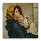 Madonna of the Streets Square Tumbled Stone Tile