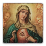 Immaculate Heart Surrounded by Angels Square Tumbled Stone Tile