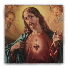 Sacred Heart Surrounded by Angels Square Tumbled Stone Tile