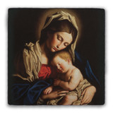Madonna and Her Child Square Tumbled Stone Tile