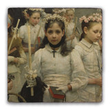 After the First Holy Communion (Detail 1 Girl) Square Tumbled Stone Tile