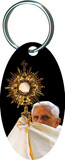 Pope Benedict XVI with Monstrance Oval Keychain