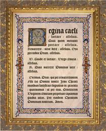 Latin Regina Caeli Gold Framed Art