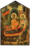 The Dormition of Mary Rustic Wood Icon Plaque