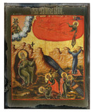 Scenes From the Life of Elijah Rustic Wood Russian Icon Plaque