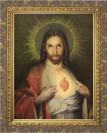 Polish Sacred Heart - Gold Ornate Framed Canvas
