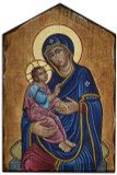 Our Lady of Good Health Rustic Wood Icon Plaque