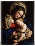 Madonna and Child Rustic Wood Plaque