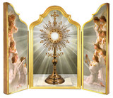 Eucharistic Adoration with Angels Adoring Triptych Plaque