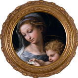 Madonna della Rosa (Detail) Round Framed Canvas