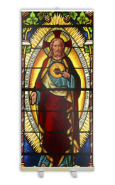 Sacred Heart Stained Glass Banner Stand