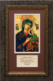 Our Lady of Perpetual Help Matted Prayer - Ornate Dark Framed Art