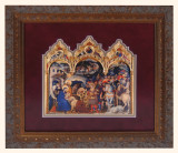 Adoration of the Magi (Burgundy) Matted Triptych Art