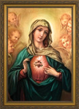 Immaculate Heart Surrounded by Angels Framed Art
