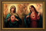 Sacred & Immaculate Hearts Surrounded by Angels Framed Art