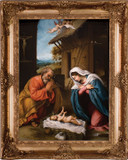 Nativity with Reaching Jesus Canvas - Gold Museum Framed Art