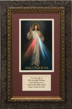 Divine Mercy Matted with Prayer - Ornate Dark Framed Art