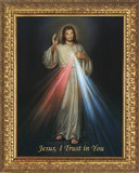 Divine Mercy Canvas - Ornate Gold Framed Art
