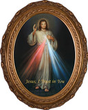 Divine Mercy Canvas - Oval Framed Art