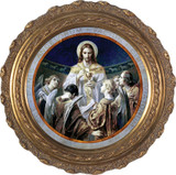 Christ, Bread of Angels Canvas - Round Framed Art