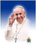Pope Francis Waving Formal Commemorative Sleeved Print