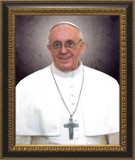 Pope Francis Formal Canvas Portrait: Ornate Black and Gold Frame