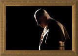 Pope Benedict in Prayer Matted - Black Framed Art