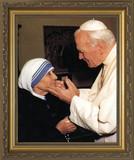 Pope John Paul II with Mother Teresa (younger) Framed Art