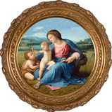 Alba Madonna Canvas - Round Framed Art