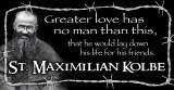 St. Maximilian Kolbe Vinyl Bumper Sticker