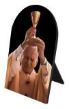 St. John Paul II Raising Chalice Arched Desk Plaque