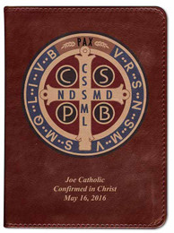 Personalized Catholic Bible with Benedictine Medal Cover - Burgundy RSVCE