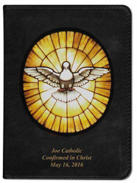 Personalized Catholic Bible with Holy Spirit Cover - Black NABRE