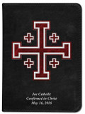 Personalized Catholic Bible with Cross of Jerusalem (Crusader) Cover - Black NABRE