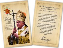 Pope Benedict XVI Commemorative Laminated Holy Card