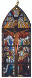 Crucifix with Saints Adoring Stained Glass Wood Ornament