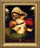 Madonna of the Green Cushion - Gold Framed Art