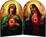 Sacred & Immaculate Hearts Surrounded by Angels Arched Diptych