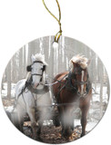 Draft Horses in Snow Ornament