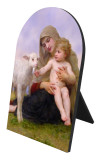 Virgin and the Lamb Arched Desk Plaque