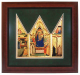 Madonna and Child Matted Triptych - Cherry Framed Art