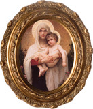 Madonna of the Roses - Oval Framed Canvas