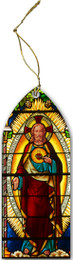 Sacred Heart Stained Glass Wood Ornament