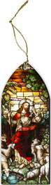 Good Shepherd Stained Glass Wood Ornament
