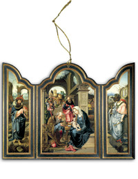Adoration of the Magi (Dark Blue) Triptych Wood Ornament