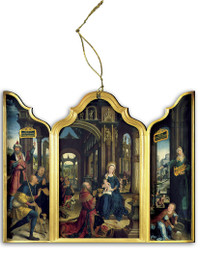 Adoration of the Infant Jesus Triptych Wood Ornament