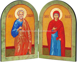 Sts. Joachim and Anna Icon Arched Diptych