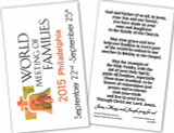 World Meeting of Families Logo Holy Card